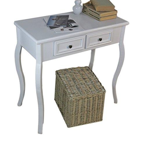 elbmöbel Konsolentisch Holz Tisch Schubladen weiß Landhaus Anrichte Beistelltisch antik - Antik Weiß Beistelltisch