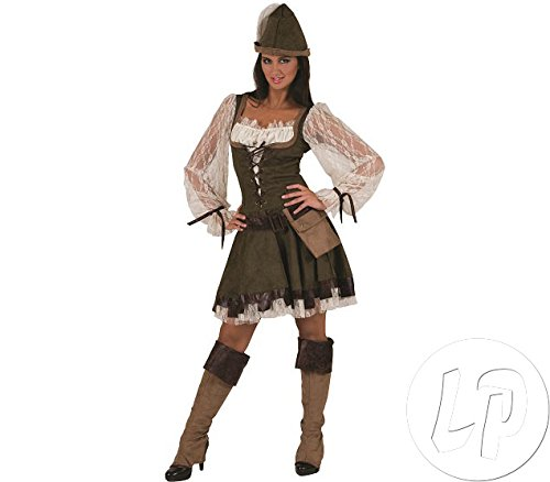 Robin Figuren Kostüm Hood - Pierro´s Kostüm Lady Marian Robin Hood Damenkostüm Kleid Hut Gürtel mit Tasche Beinstulpen Größe 36 38 40 42 44 46 48 50 für Karneval, Fasching, Halloween, Motto Party / Abenteuer, Geschichten
