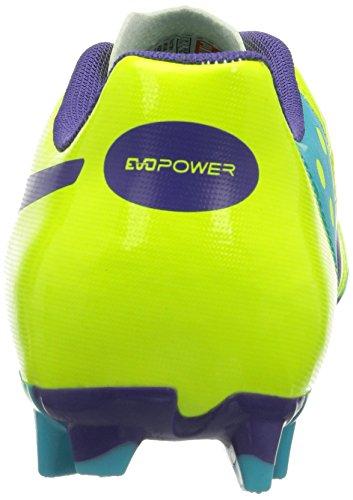 Puma Evopower 4 Fg Jr, Chaussures de football mixte enfant Orange (Fluro Yellow-Prism Violet-Scuba Blue 04)