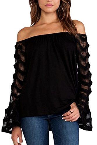 YOINS Women Sexy Cold Shoulder Tops Off The Shoulder Long Sleeves Patchwork Design Casual Blouses Shirts