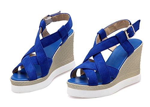 UH Femmes Sandales à Talons Compensees avec Plateforme Bout Ouvert de Bandage Confortables Simple Bleu