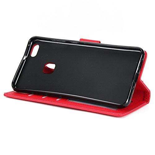 Custodia per Huawei P10 Lite, ISAKEN Flip Cover per Huawei P10 Lite con Strap, Elegante Bookstyle PU Pelle Case Cover Protettiva Flip Portafoglio Custodia Protezione Caso con Supporto di Stand / Carte Rossa