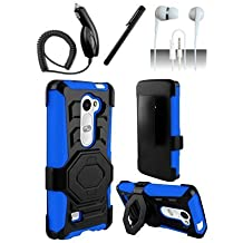4 Items Combo For LG Leon LTE C40 / H320 / LG Destiny L21G / LG Power L22c (MetroPCS) Blue / Black Heavy Duty Hybrid Armor Style Combat Armor Dual Layer Protective Case Cover with Built in Kickstand and Belt Clip Holster + Car Charger + Free Stylus Pen + Free 3.5mm Stereo Earphone Headsets