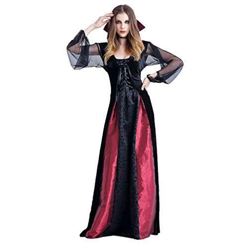 Damen Gothic Kleid Hexe Halloween Cosplay Kostüm Binggong Spitzenkleid Retro Verkleidung für - Moderne Hexen Kostüm