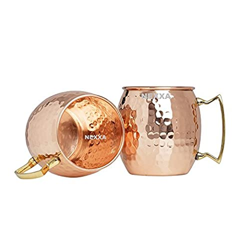 nexxa Moscow Mule Copper Cup (Set of 2 Cups) HAMMERED Copper Mug 600 ml 100% Solid Pure Copper 175 g approx
