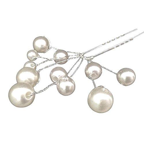 Contever® 1 Pcs Horquillas Pinzas Clip Clic Para Pelo Con Artificial Perla Decoración para Novia Boda Fiesta Chicas Señora Women