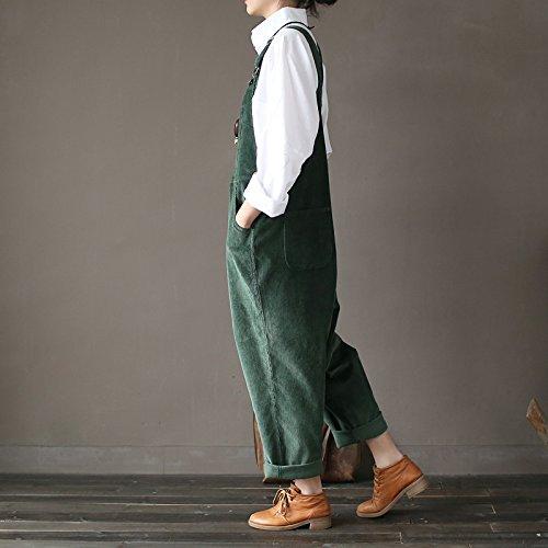 Aeneontrue Femme Salopette Coton Casual Large Ample en Velours Côtelé Combinaison Jumpsuit Harem Sarouel Pantalon Romper Vert