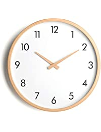771f04b68c7c Relojes Reloj de Pared de Madera Maciza Simple Espejo de Cristal Redondo  PVC dial Sala de