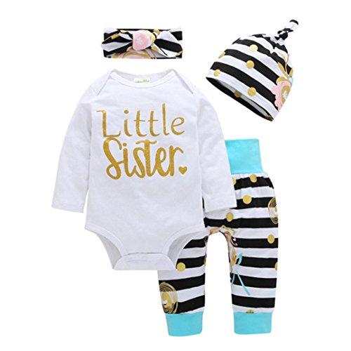 ZIYOU 4PCS Langarm Streifen Strampler Unisex Outfits Neugeborenes Baby (3M)