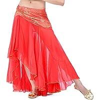 Calcifer - Falda de Gasa para Danza del Vientre, Disfraz de Baile, Vestido de Baile para Mujer (Rojo Caliente)
