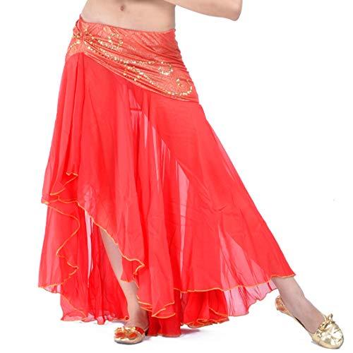 Calcifer Chiffon Fischschwanz Bauchtanz Rock Kostüm Tanzkleid für Frauen Professionelle Tänzerin (Hot - Red Tap Dance Kostüm