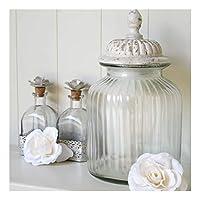 Large Glass Storage Jar Stone Effect Sealed Lid Biscuit Sweetie Jar