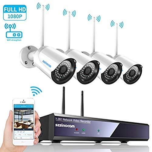 Kit Telecamera Videosorviglianza,SZSINOCAM Telecamera Sorveglianza Wifi(4CH 1080P NVR + 4 x 1080P 2.4GHZ Impermeabile IP66 Telecamera Esterno) P2P, IR-CUT, Visione Notturna, Allarme Email NO HDD