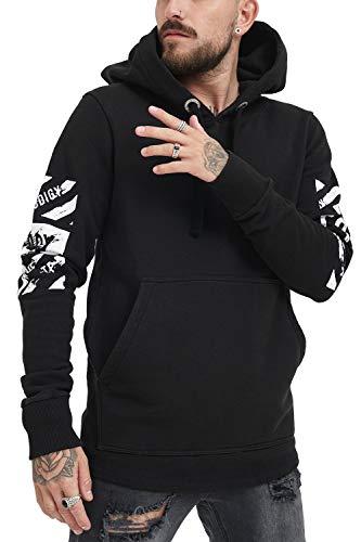 trueprodigy Casual Herren Marken Sweatshirt mit Aufdruck, Oberteil cool und stylisch mit Rundhals Kapuze (Langarm & Slim Fit), Sweatshirt für Männer in Farbe: Schwarz 2583109-2999-L