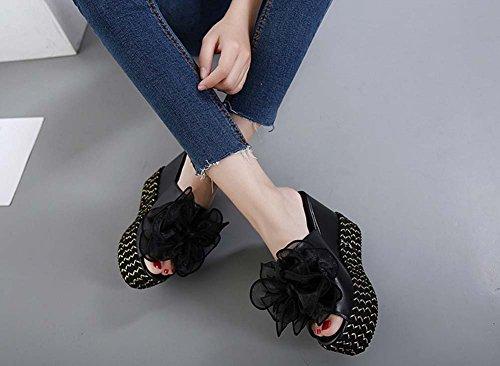 L&Y Le pompe delle pompe aperte delle donne Estate Nuovo comodo pendenza della base spessa calza i pattini della testa i sandali casuali dell'alto tallone Nero