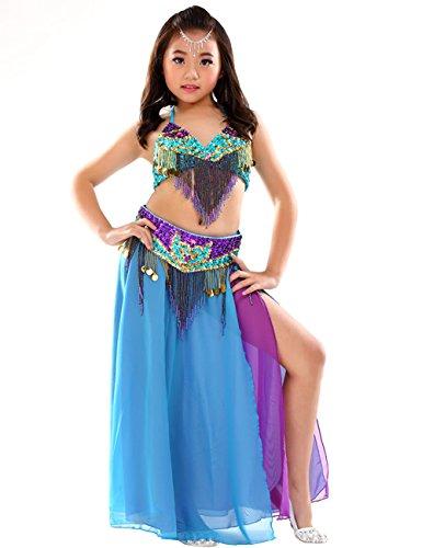 Astage Mädchen Sport-BHS Tanzsport Kleider Kinder Bauchtanz-Set Tanz Kostüm Sky (Tanz Kostüm Bhs)