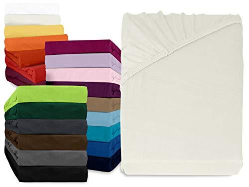 npluseins klassisches Jersey Spannbetttuch - erhältlich in 34 modernen Farben und 6 verschiedenen Größen - 100% Baumwolle, 90-100 x 190- 200cm, naturweiß