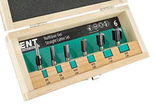 ENT 09007 6-tlg. HW Oberfräser Nutfräser Set mit HW-Grundschneide - Ø 6-8 - 10-12 - 16 und 20 mm- Schaft Ø 8 mm