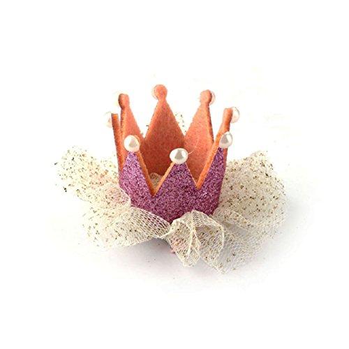 Malloom® Heißer Verkauf Baby Mädchen Krone Perle Prinzessin Haarclip Party Zubehör (rosa)