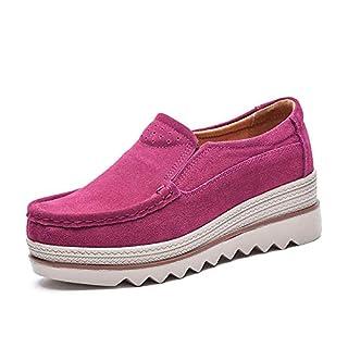 NEOKER Damen Mokassins Plateau Wildleder Schlupf Loafers Halbschuhe Sneaker mit Keilabsatz 5cm Schwarz Blau Khaki 35-42 Rosa 41