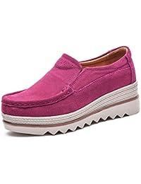 Mujer Mocasines Plataforma Casual Loafers Primavera Verano Zapatos de Cuña 5cm Negro Azul Caqui ...