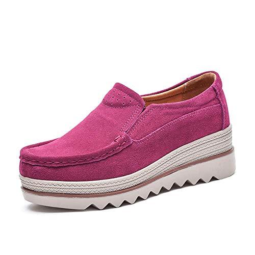 NEOKER Damen Mokassins Plateau Wildleder Schlupf Loafers Halbschuhe Sneaker mit Keilabsatz 5cm Schwarz Blau Khaki 35-42 Rosa 38