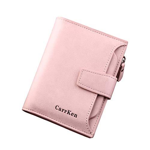 LIXIAQ1 Einfache quadratische Brieftasche Reißverschluss Knopf Design Geldbörse PU Leder Männer Kupplung Kartenhalter, rosa -