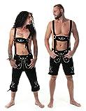 Almwerk Herren Trachten Lederhose Rockstar schwarz in kurz oder als Kniebund
