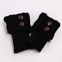 Pinzhi Negro 1 par de calcetín negro de la manera de la muchacha de la manera calcetín del montón caliente de la hebilla dos calcetines de la torcedura de la hebilla
