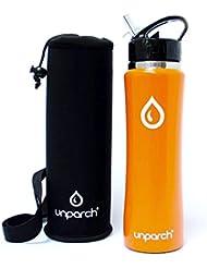 unparch Premium–Botella de agua de 750ml Doble vacío aislado, Sin BPA, acero inoxidable, acabado mate, con funda de transporte