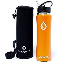UnParch Bottiglia dell'acqua di alta qualità–Doppio isolamento sottovuoto, senza BPA, acciaio INOX, finitura opaca, 750ml, con custodia per il trasporto Orange