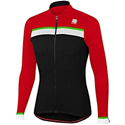 Sportful Jersey Track Thermal Zwart-Rood 2017