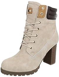 Schnürstiefeletten Damenschuhe Klassischer Stiefel Pump High Heels Reißverschluss Ital-Design Stiefeletten