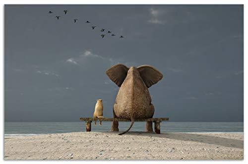 Wallario Herdabdeckplatte/Spritzschutz aus Glas, 1-teilig, 80x52cm, für Ceran- und Induktionsherde, Motiv Elefant und Hund sitzen auf Einer Bank