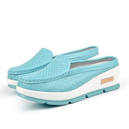 WZG mode d'été des modèles féminins couche respirante de semi-tracteurs cuir femmes pantoufles cool trou chaussures pantoufles pâte molle Blue