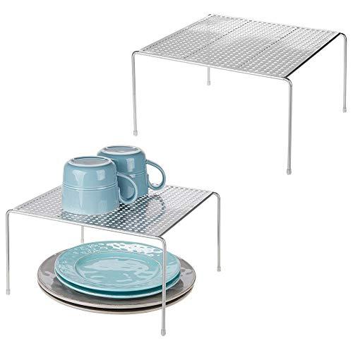 MetroDecor mDesign Juego de 2 estantes de Cocina – Soportes para Platos de Metal – Pequeños organizadores de armarios para Tazas, Platos, Alimentos, etc. – Plateado
