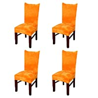 Zhihong 4pcs Universal Stretch Fox Pile Fabric Chair Covers Removable Washable Ceremony Hotel Dining Room Kitchen Bar Dining Seat Cover Restaurant Wedding Part Decor (Orange)
