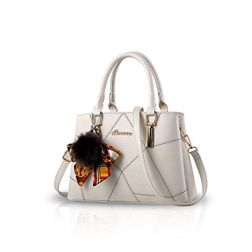 Faux-leder-schulter-handtasche (NICOLE&DORIS Frauen-Art- und Weisehandtasche Crossbody Schulter-Geldbeutel-Tote-Schultaschen-Einkaufstasche Faux-Leder Weiß)