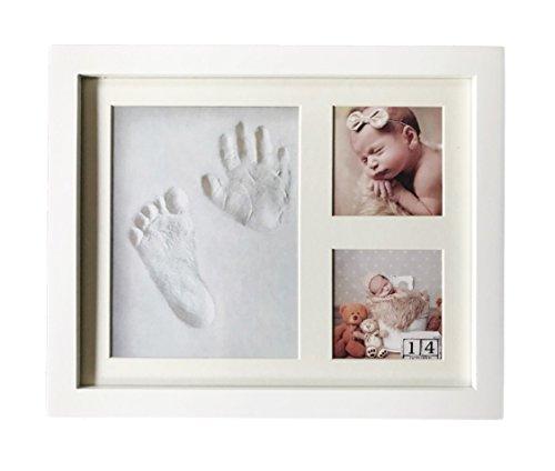 Baby Bilderrahmen mit ECHTGLAS und komplett in weißem Design - Premium Qualität - Bilderrahmen Abdruckset Handabdruck und Fußabdruck