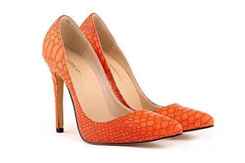 Aisun Damen Spitz Damenschuh Krokodil Muster High Heels Stilettos Pumps Orange