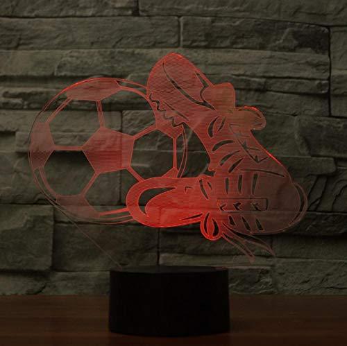Lampada da illusione ottica Lampada da notte 3D LED Scarpe da calcio per bambini Lampada da comodino con luce d'atmosfera Lampada da comodino Touch Switch 7 colori Cambia regalo di festa