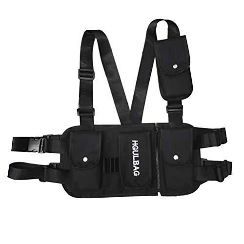 Hihey Taktisch Multifunktion Schultetasche Daypack Crossbag Tasche Herren Hip Hop Chest Rig Taschen Unisex Funktions Brusttaschen mit 4 Taschen Streetwear Westen