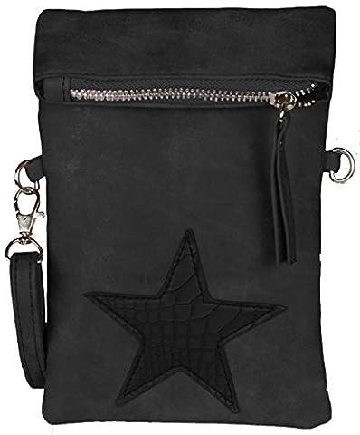 Mevina Damen kleine Stern Clutch Leder-Optik Tasche Umhängetasche Schultertasche Schwarz A1301