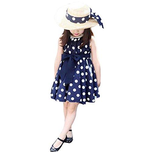 Vestido para niña, K-youth® Baratas Bebe Niño Ropa Bebe Niña Vestido Niñas Lindo Patrón de Lunares Vestido Plisado Vestido Elegante (Azul, 120)