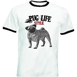 Teesquare1st PUG LIFESTYLE Tshirt de hombre con bordes negros Size Medium