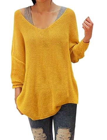 sourcingmap® Ladies Deep V Neck Long Sleeves Loose Tunic Sweater