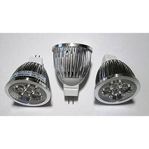 Mr 16/GU 5,3attacco–12V AC/DC LED Spotlight con 45° abstrahlung–Set di 3.–5x 1Watt–375lm Bianco Caldo 2800K–Ricambio per 35Watt alogena faretto.