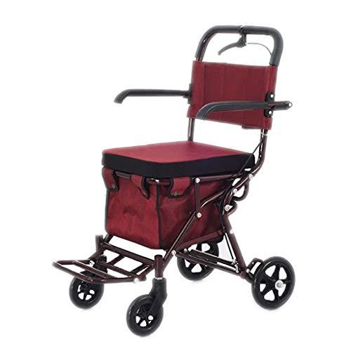 Ältere Wanderer Faltbarer Trolley, Alter Walker-Einkaufswagen Vierradlaufkatze mit Sitz (Farbe : Four Wheel-universal Wheel)
