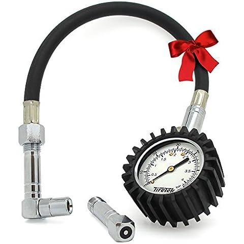 TireTek Flexi-Pro Medidor de presión de neumáticos, coche y moto con mandriles en ángulo recto y llano–60PSI