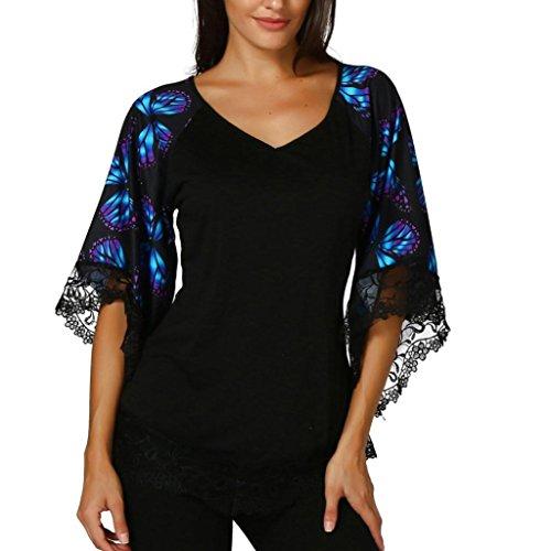 TIREOW 2018 Damen Schmetterlings-Raglanärmel T-Shirt mit Spitzenbesatz Top Bluse Schwarz/Rot/Lila, S-XXL (Lila, L)